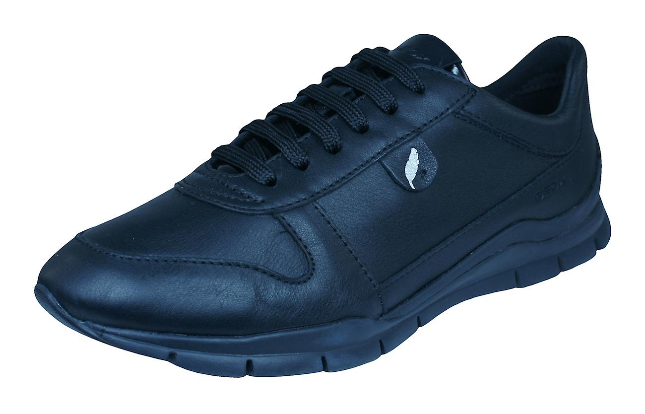 Geox Trainers D Sukie A Womens Leather Trainers Geox / Shoes - Black ed327d