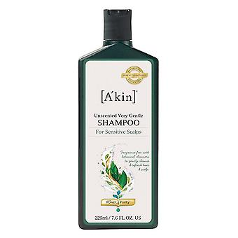 A'kin Unscented Very Gentle Shampoo for Sensitive Scalps 225ml