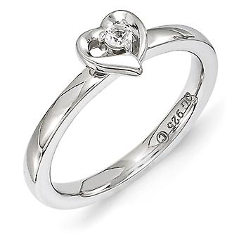 2.25mm Sterling Silver Stackable Expressions White Topaz Heart Ring - Ring Size: 5 to 10