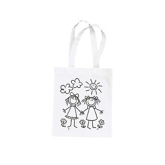 Best Friends Girl Print Fabric Bag to Paint | Fabric Painting Supplies