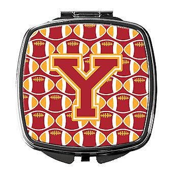 Letter Y Football Cardinal and Gold Compact Mirror
