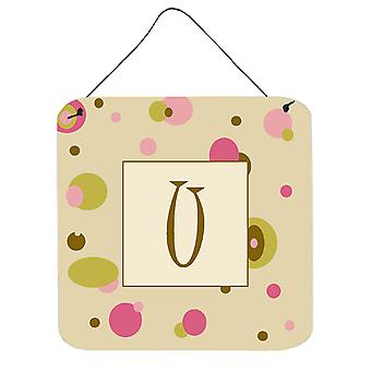 Letter U Initial Monogram - Tan Dots Wall or Door Hanging Prints