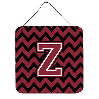 Letter Z Chevron Garnet and Black  Wall or Door Hanging Prints