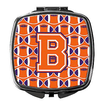 Letter B Football Orange, White and Regalia Compact Mirror