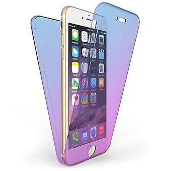 IPhone 6 / 6S Plus een Full Body 360 TPU Gel Case blauw / paars