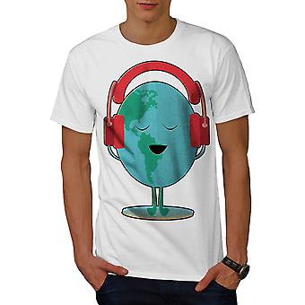 Earth day Headphone Music Men WhiteT-shirt | Wellcoda