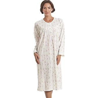 Camille Classic Long Sleeve Pink Floral Print Ivory Nightdress