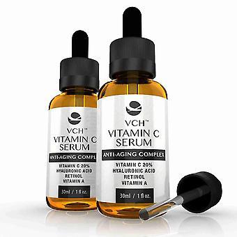 VCH 20% vitamina C Serum con ácido hialurónico, Retinol y vitamina A - 2 botellas (60ml) - vitamina C Anti-Aging Serum - evolución adelgazar