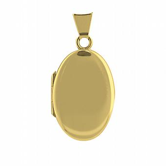 18ct Gold 22x15mm plain handmade oval Locket