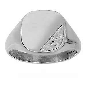Silver 15x16mm hand engraved solid cushion Signet Ring Size Y