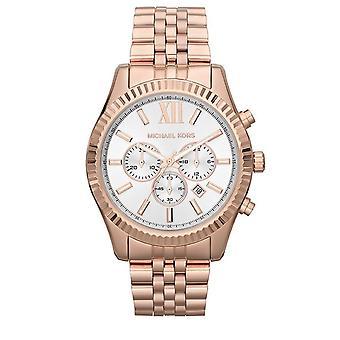 Michael Kors damski Lexington chronograf zegarek różowe złoto bransoleta Dial MK8313