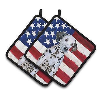 キャロラインズ宝物 BB9708PTHD ダルメシアンの子犬ポット ホルダーの愛国心が強いペア