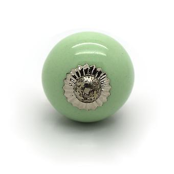 Small Green Ceramic Cupboard Knob