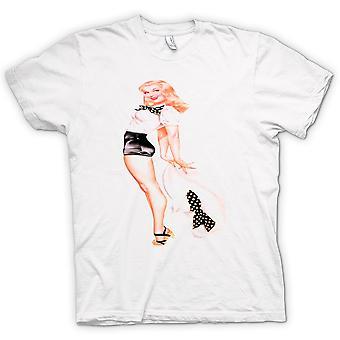 Mens T-shirt - Big Hat Blonde Vintage Pin-Up
