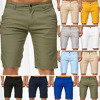 Mens Chino Shorts Casual Bermuda Stretch Leisure Capri 3/4 Pants Summer Trousers