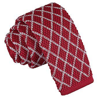 Hvit og rød diamant rutenettet strikket tynne slips