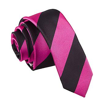 Heißes rosa & schwarz gestreiften schmaler Krawatte