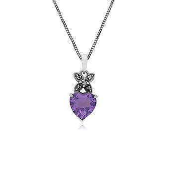 Sterling Silver Amethyst & Marcasite February Heart Pendant on 45cm Chain