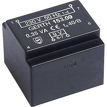 PCB マウント変圧器 1 x 230 V 1 x 15 V AC 0.35 VA 23 mA PTE201501 Gerth