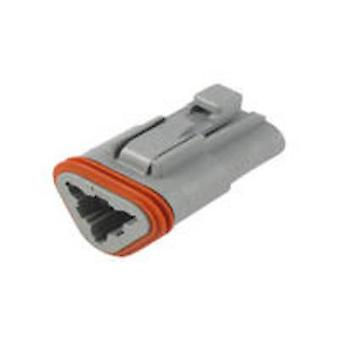 TE Connectivity DT06-3S Bullet connector Socket, straight Series (connectors): DT Total number of pins: 3 1 pc(s)