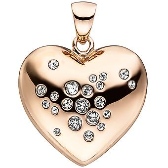 Heart pendant 925 sterling silver gold plated 21 crystals heart pendant