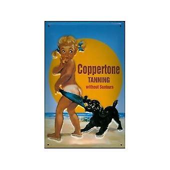 Coppertone zonneproducten metalen briefkaart / Mini Sign