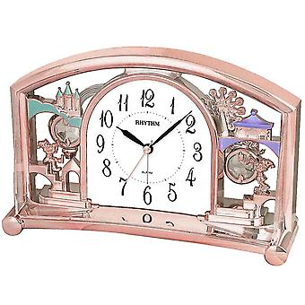 Rhythm 7535/18 table clock quartz with pendulum pink Rosé gold colors with wake-up function