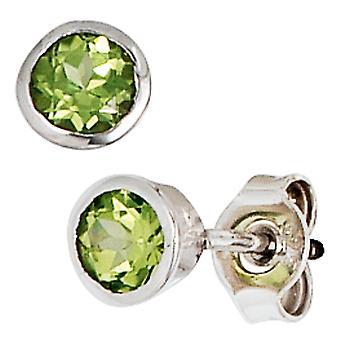 Grüne Ohrstecker 925 Sterling Silber rhodiniert 2 Peridote Ohrringe silber