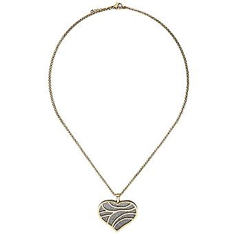 Necklace chain with heart pendant stainless steel gold color coated 47 cm