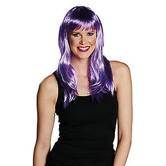 Kylie Mid-Length pony pruik dames paars accessoire carnaval Halloween