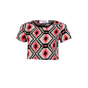 Ladies Short Sleeve Luminous Pink Black Chiffon Baggy Women's Crop Top