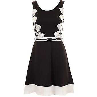 Ladies Sleeveless Black Ivory Lace Contrast Belted Smart Evening Skater Dress