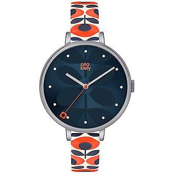 Orla Kiely Womens White Leather Orange Floral Strap Navy Dial OK2137 Watch