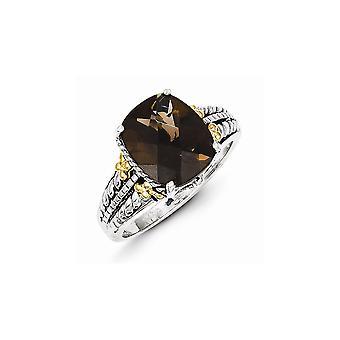 925 Sterling Silver Antique finition Avec 14k 3.70Smokey Quartz Ring - Taille de l'anneau: 6 à 8