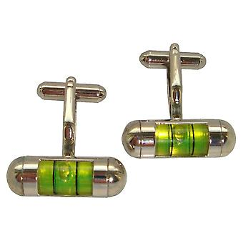 Bassin and Brown Spirit Level Cufflinks - Green/Silver