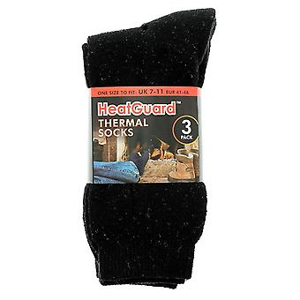 HeatGuard 3 Pack Mens Black Thermal Socks Size 7-11
