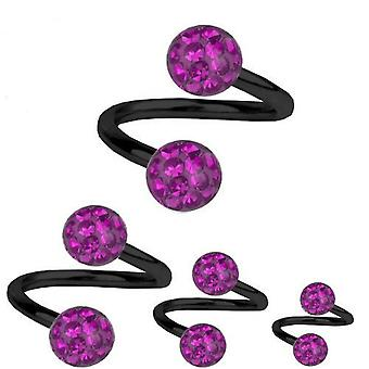 Spirale Twist Piercing schwarz Titanium 1,6 mm, Multi Kristall Kugel lila | 8-12 mm