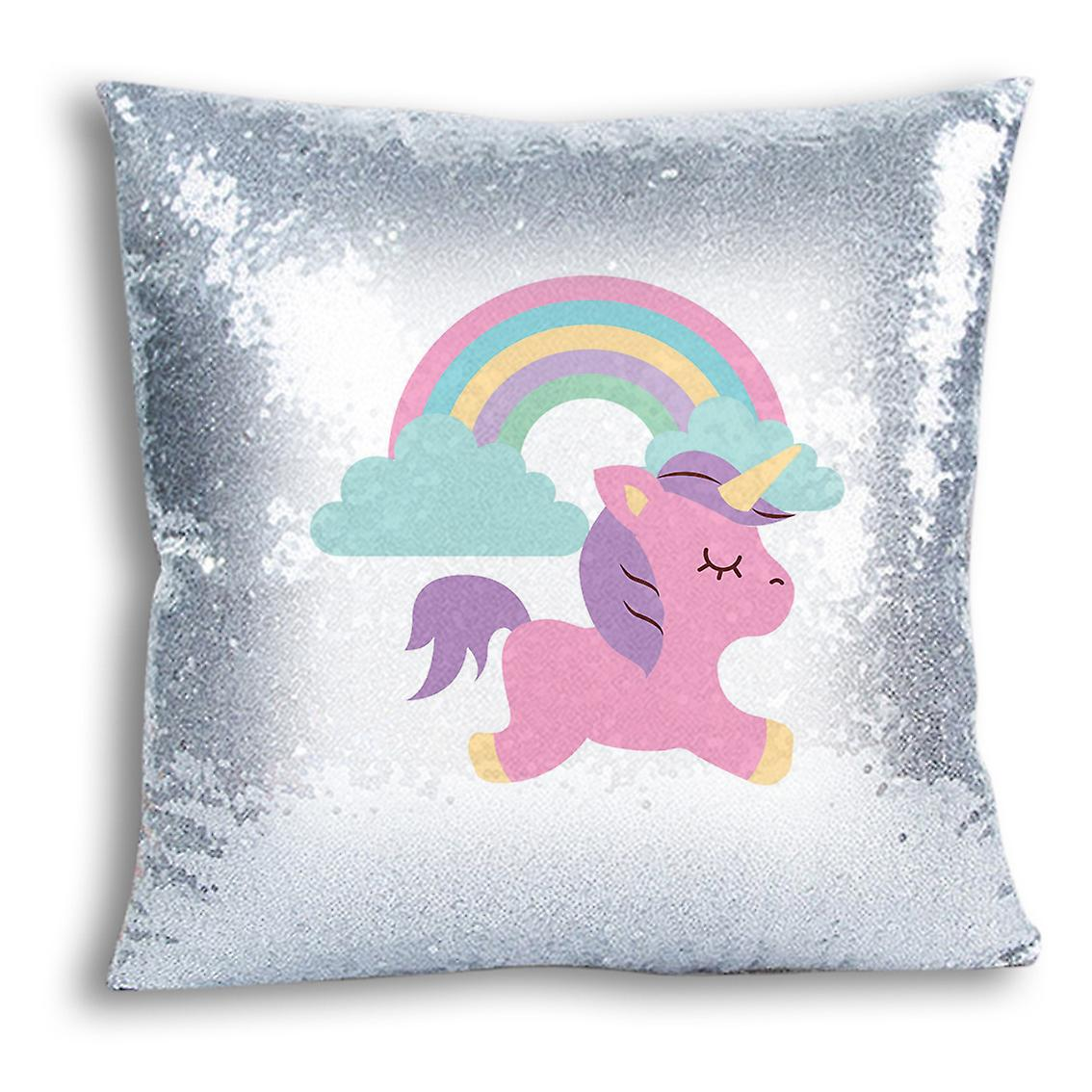 Home For Printed tronixsUnicorn Decor I CushionPillow Design Silver Cover 4 Sequin TluK1cFJ3
