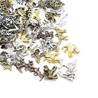 Packet 30 Grams Multicolour Tibetan 5-40mm Dog Charm/Pendant Mix HA08610