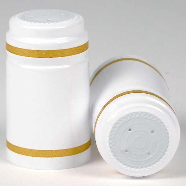 Shrink Capsules - White with gold bands
