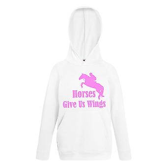 Horses Give Us Wings White with Pink Hoody