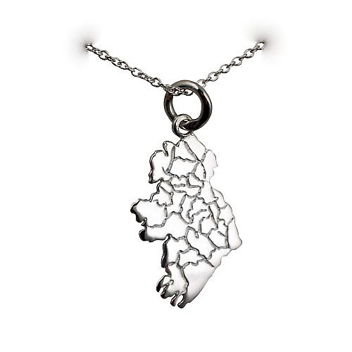 Silver 29x15mm Map of Ireland Pendant with a rolo Chain 16 inches Only Suitable for Children