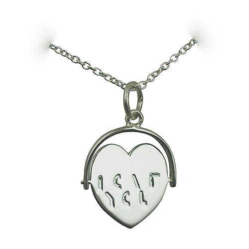Silver 16x16mm I Love You heart spinning disc Pendant with a rolo Chain 18 inches