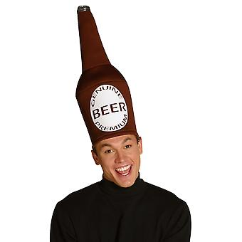 Mens Brown Beer Bottle Hat Novelty Stag Night Fancy Dress Costume Accessory