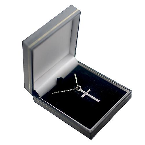 Silver 25x15mm diamond star set solid block Cross with a rolo chain