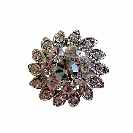 Sparkling Silver Casting Simulated Diamond Classic Brooch Pin