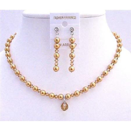 Swarovski Gold Pearls Lite Colorado Crystals Jridal Custom Jewelry Set