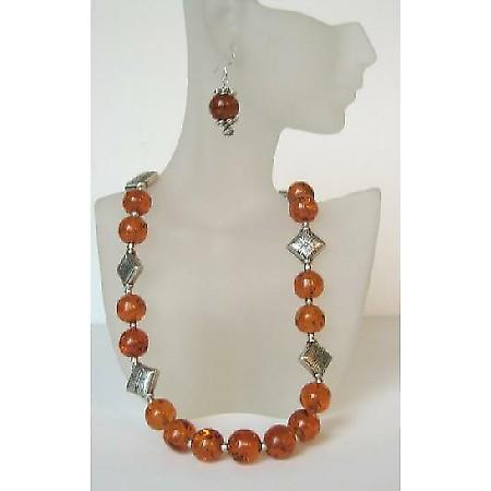 Handmade Ethni Amber Necklace With Sterling Silver Earrings & Bali Silver Spacing