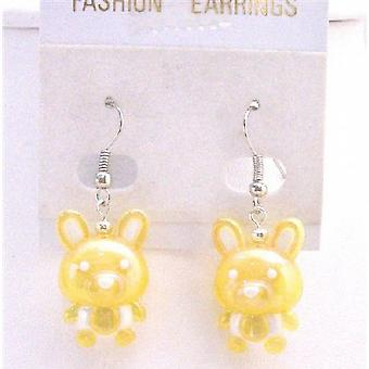 Holiday Earrings Easter Bunny Rabbit Cute Yellow Bunny Earrings
