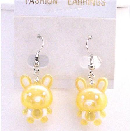 Holiday Earrings Easter Bunny Rabbit Cute Yellow Bunny Earrings